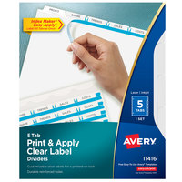 Avery 11416 Index Maker 5-Tab White Paper Punched Divider Set with Printable Clear Label Strip