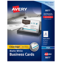 Avery 08877 True Print 2 inch x 3 1/2 inch Matte White Clean Edge Two-Sided Business Card - 400/Box