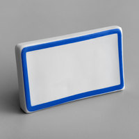 Choice 3 3/4 inch x 2 1/2 inch Blue Decal Border Ceramic Table Tent Sign