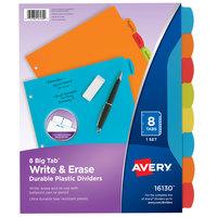 Avery 16130 Big Tab 8-Tab Multi-Color Plastic Write / Erase Durable Divider Set