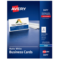 Avery 08471 2 inch x 3 1/2 inch Matte White Micro Perforated Two-Sided Business Card - 1000/Box