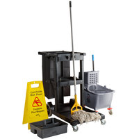Lavex Lodging Black Cleaning Cart / Janitor Cart and Gray Mop Bucket Kit