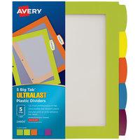 Avery 24900 Ultralast Big Tab 5-Tab Multi-Color Plastic Divider Set