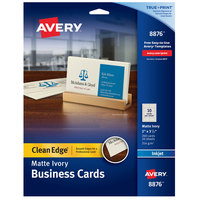 Avery 08876 True Print 2 inch x 3 1/2 inch Matte Ivory Clean Edge Two-Sided Business Card - 200/Pack