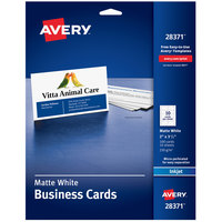 Avery 28371 2 inch x 3 1/2 inch Matte White Micro Perforated Edge Two-Sided Business Card   - 100/Pack
