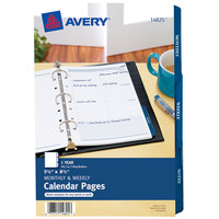 Avery 14825 8 1/2 inch x 5 1/2 inch White Monthly / Weekly Calendar Page   - 25/Pack