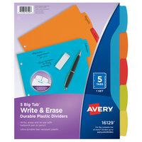 Avery 16129 Big Tab 5-Tab Multi-Color Plastic Write / Erase Durable Divider Set