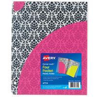 Avery 47715 Corner Lock 11 inch x 8 1/2 inch Multicolor Damask Design Prepunched Four Pocket Plastic Folder