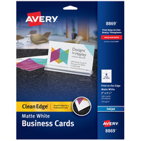 Avery 08869 2 inch x 3 1/2 inch Matte White Clean Edge Premium Two-Sided Business Card - 160/Pack