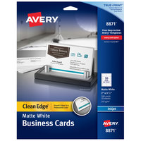 Avery 08871 True Print 2 inch x 3 1/2 inch Matte White Clean Edge Two-Sided Business Card - 200/Pack