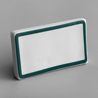 Choice 3 3/4 inch x 2 1/2 inch Teal Decal Border Ceramic Table Tent Sign