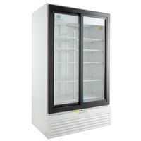 Beverage-Air MT49-1-SDW 47 inch Marketeer Series White Refrigerated Sliding Glass Door Merchandiser with LED Lighting
