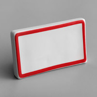Choice 3 3/4 inch x 2 1/2 inch Red Decal Border Ceramic Table Tent Sign
