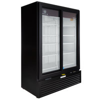 Beverage-Air MT53-1-SDB 54 inch Marketeer Series Black Refrigerated Sliding Glass Door Merchandiser with LED Lighting