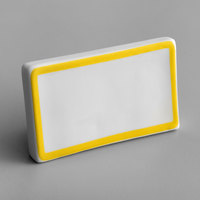 Choice 3 3/4 inch x 2 1/2 inch Yellow Decal Border Ceramic Table Tent Sign
