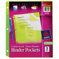 Avery 75312 Corner Lock Assorted Color 3-Pocket Binder Pocket - 3/Pack