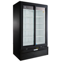 Beverage-Air MT49-1-SDB 47 inch Marketeer Series Black Refrigerated Sliding Glass Door Merchandiser with LED Lighting