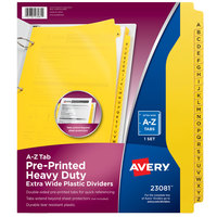 Avery 23081 Heavy-Duty 26-Tab A-Z Yellow Plastic Industrial Divider Set