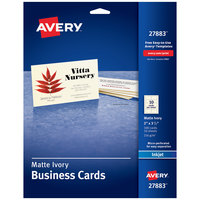Avery 27883 2 inch x 3 1/2 inch Matte Ivory Micro Perforated Edge Two-Sided Business Card   - 100/Pack