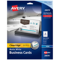 Avery 28878 True Print 2 inch x 3 1/2 inch Matte White Clean Edge Two-Sided Business Card - 90/Pack