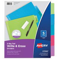 Avery 23180 Big Tab 5-Tab Multi-Color Paper Write / Erase Divider Set