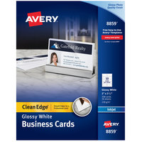 Avery 08859 2 inch x 3 1/2 inch Glossy Matte Back White Clean Edge Two-Sided Premium Business Card - 200/Pack