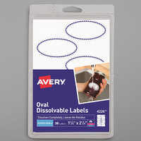 Avery 04226 1 1/4 inch x 2 1/4 inch White Oval Preprinted Border Dissolvable Labels - 30/Pack