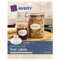 Avery 22814 1 1/2 inch x 2 1/2 inch True Print White Glossy Oval Print-to-the-Edge Labels - 90/Pack