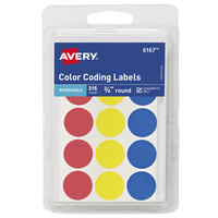 Avery 06167 3/4 inch Assorted Color Round Removable Color-Coding Write-On Labels - 315/Pack