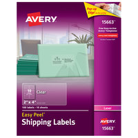 Avery 15663 Easy Peel 2 inch x 4 inch Clear Laser Printer Shipping Labels - 100/Pack