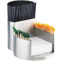 Cal-Mil 1853-55 Mixology Stainless Steel Napkin, Straw, and Toothpick Organizer - 7 1/4 inch x 10 inch x 5 1/4 inch