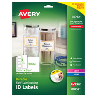 Avery 00752 Easy Align 3 5/16 inch x 2 5/16 inch White Rectangular Self-Laminating ID Labels - 20/Pack