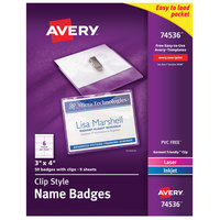 Avery 74536 4 inch x 3 inch White Landscape Printable Clip Style Name Badge with Flexible Holder - 50/Box