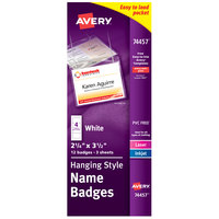 Avery 74457 3 1/2 inch x 2 1/4 inch White Landscape Printable Hanging Style Name Badge with Flexible Holder - 12/Pack
