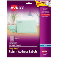 Avery 08667 Easy Peel 1/2 inch x 1 3/4 inch Clear Matte Return Address Labels - 2000/Pack