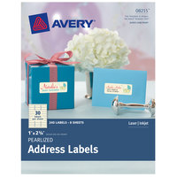 Avery 08215 1 inch x 2 5/8 inch Pearlized Ivory Rectangle Print-to-the-Edge Labels - 240/Pack