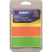 Avery 06722 1 inch x 3 inch Assorted Neon Color Write-On Color-Coding Labels - 72/Pack