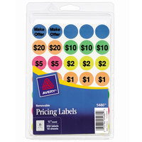 Avery 05480 3/4 inch Assorted Color Preprinted Garage Sale Stickers / Labels - 350/Pack