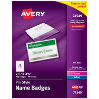Avery 74549 3 1/2 inch x 2 1/4 inch White Landscape Printable Pin Style Name Badge with Flexible Holder - 100/Box
