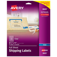 Avery 08665 8 1/2 inch x 11 inch Clear Full Sheet Shipping Labels - 25/Pack