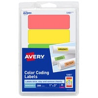 Avery 05481 1 inch x 3 inch Assorted Neon Color Rectangle Removable Color-Coding Labels - 200/Pack