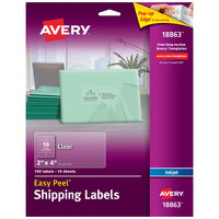 Avery 18863 Easy Peel 2 inch x 4 inch Clear Matte Shipping Labels - 100/Pack