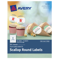 Avery 08218 2 1/2 inch Textured White Round Scalloped Labels - 90/Pack