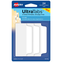 Avery 74776 Ultra Tabs 3 inch x 1 1/2 inch White Paper Covered Plastic Repositionable Two-Side Filing Tab - 24/Pack