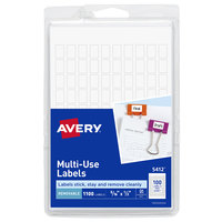 Avery 05412 5/16 inch x 1/2 inch White Rectangle Removable Multi-Use Labels   - 1100/Pack