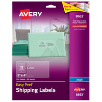 Avery 08663 Easy Peel 2 inch x 4 inch Clear Matte Address Labels - 250/Pack