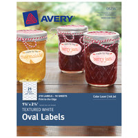 Avery 08216 1 1/8 inch x 2 1/4 inch White Textured Water Resistant Printable Oval Label   - 210/Pack