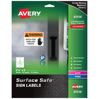 Avery 61514 Surface Safe 3 1/2 inch x 5 inch Rectangle Water and Chemical Resistant Sign Labels - 60/Pack