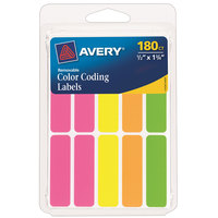 Avery 06724 1/2 inch x 1 3/4 inch Assorted Neon Color Write-On Color-Coding Labels - 180/Pack