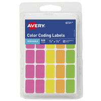 Avery 06721 1/2 inch x 3/4 inch Assorted Neon Color Write-On Color-Coding Labels - 525/Pack